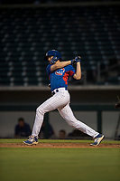 AZL Cubs 2 right fielder Drew Wharton (27) follows through on his swing during an Arizona League game against the AZL Rangers at Sloan Park on July 7, 2018 in Mesa, Arizona. AZL Rangers defeated AZL Cubs 2 11-2. (Zachary Lucy/Four Seam Images)