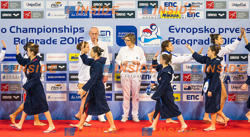 LEN European Water Polo Championships 2016<br /> Serbia SRB (White) Vs Italy ITA FRA (Blue)<br /> Women<br /> Team Presentation<br /> Kombank Arena, Belgrade, Serbia <br /> Day08  17-01-2016<br /> Photo P. Mesiano/Insidefoto/Deepbluemedia