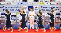 LEN European Water Polo Championships 2016<br /> Serbia SRB (White) Vs Italy ITA FRA (Blue)<br /> Women<br /> Team Presentation<br /> Kombank Arena, Belgrade, Serbia <br /> Day08  17-01-2016<br /> Photo P. Mesiano/Insidefoto/Deepbluemedia