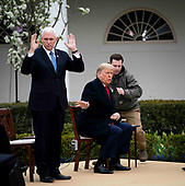 United States President Donald J. Trump and US Vice President Mike Pence as they participate in a Fox News Virtual Town Hall with Anchor Bill Hemmer, in the Rose Garden of the White House in Washington, DC, Tuesday, March, 24, 2020.<br /> Credit: Doug Mills / Pool via CNP