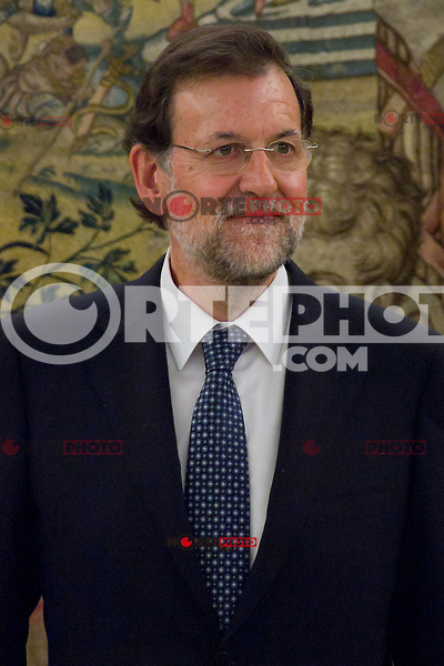 22.08.2012. King Juan Carlos of Spain receives the President of the Government of Spain Mariano Rajoy Brey in the Zarzuela Palace in Madrid. In the image Mariano Rajoy Brey (Alterphotos/Marta Gonzalez) /NortePhoto.com<br />