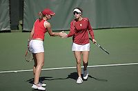 11 March 2007: Anne Yelsey and Lindsay Burdette in doubles during Stanford's 5-2 win over Texas at the Taube Family Tennis Stadium in Stanford, CA.