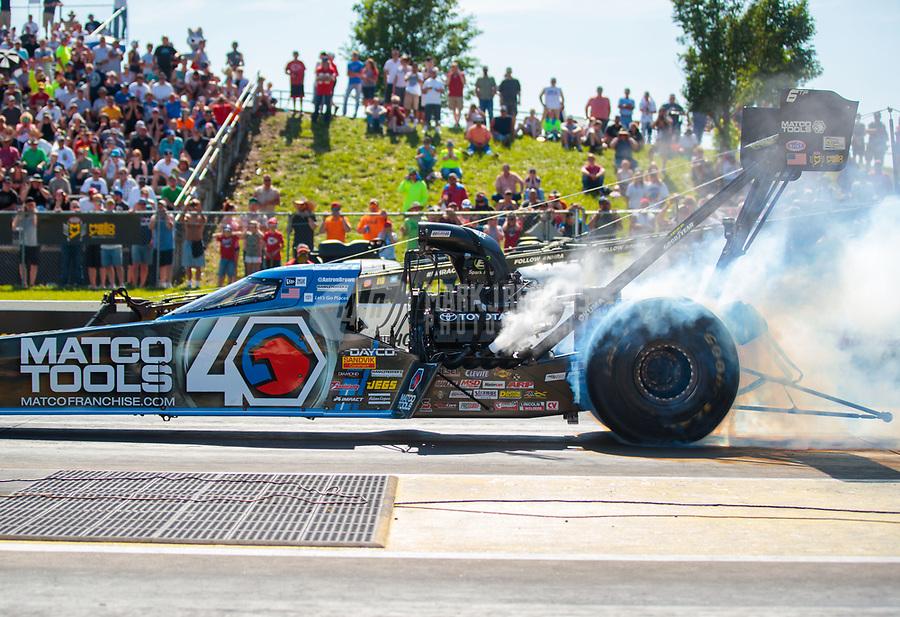 Jun 8, 2019; Topeka, KS, USA; NHRA top fuel driver Antron Brown during qualifying for the Heartland Nationals at Heartland Motorsports Park. Mandatory Credit: Mark J. Rebilas-USA TODAY Sports