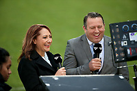 Skysport's Melodie Robinson and Tony Johnson during the Mitre 10 Cup Premiership and Ranfurly Shield rugby match between Canterbury and Taranaki at AMI Stadium in Christchurch, New Zealand on Friday, 06 October 2017. Photo: Martin Hunter / lintottphoto.co.nz