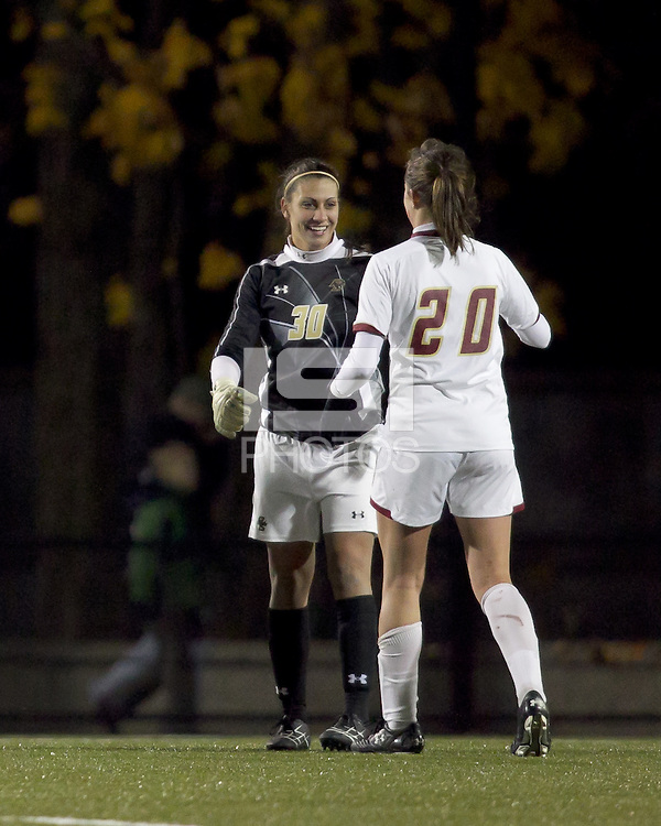"Boston College goalkeeper Jillian Mastroianni (30) celebrates victory and shut out with  Boston College midfielder Zoe Lombard (20). Boston College defeated West Virginia, 4-0, in NCAA tournament ""Sweet 16"" match at Newton Soccer Field, Newton, MA."