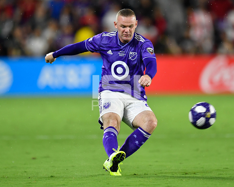 Orlando, FL - Wednesday July 31, 2019:  Wayne Rooney #23 during the Major League Soccer (MLS) All-Star match between the MLS All-Stars and Atletico Madrid at Exploria Stadium.