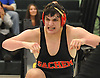 Dominic Pistone of Sachem East reacts after scoring a two point takedown in the final seconds of a 220 pound match against Danny Garcia of Brentwood to win by decision 3-2 and help Sachem East to a 34-17 victory in a Suffolk County varsity wrestling meet at Brentwood High School on Friday, Jan. 8, 2016.