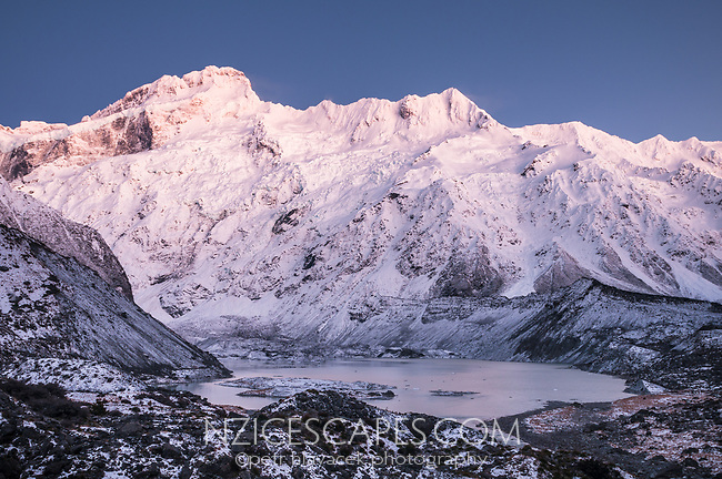 Sunrise over Mt. Sefton left 3151m, The Footstool right 2764m and Mueller lake of Mueller Glacier, Aoraki Mount Cook National Park, UNESCO World Heritage Area, Mackenzie Country, New Zealand, NZ