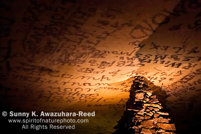 Kentucky Monument and historic smoke signatures on cave ceiling, Gothic Ave, Mammoth Cave National Park, Kentucky