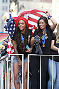 US Women Soccer players Sydney Leroux and Ali Kreger are seen during New York City Ticker Tape Parade For World Cup Champions U.S. Women's Soccer National Team on July 10, 2015 in New York City.(AP Photo/ Donald Traill)