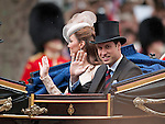 """PRINCE WILLIAM AND CATHERINE, DUCHESS OF CAMBRIDGE.take a carriage ride from Westminster Hall to Buckingham Palace after lunch, in celebration of the Queen's Diamond Jubilee_5th June 2012.Mandatory Credit Photo: ©A Linnett/NEWSPIX INTERNATIONAL..**ALL FEES PAYABLE TO: """"NEWSPIX INTERNATIONAL""""**..IMMEDIATE CONFIRMATION OF USAGE REQUIRED:.Newspix International, 31 Chinnery Hill, Bishop's Stortford, ENGLAND CM23 3PS.Tel:+441279 324672  ; Fax: +441279656877.Mobile:  07775681153.e-mail: info@newspixinternational.co.uk"""