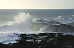A wave crashing down on the rocks, Mendocino California