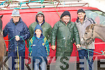 Donal O'Sullivan, Sean, Cormac, Denny Cronin and Patrick O'Connor Maherees weather at the Killorglin Horse Fair on Saturday.