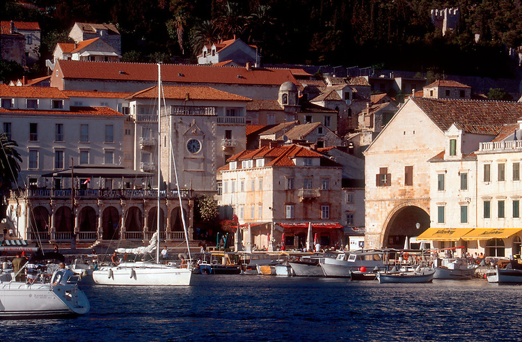 Croatia, Dalmatian Islands, Havar, 17th century Venetian architecture dominates the medieval port town of Hvar, Hvar Island,   Damatian Coast, Adriatic Sea, Europe,.