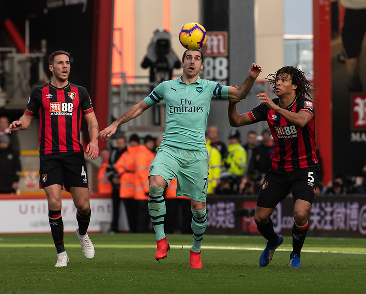 Arsenal's Henrikh Mkhitaryan (left) under pressure from Bournemouth's Nathan Ake (right) <br /> <br /> Photographer David Horton/CameraSport<br /> <br /> The Premier League - Bournemouth v Arsenal - Sunday 25th November 2018 - Vitality Stadium - Bournemouth<br /> <br /> World Copyright © 2018 CameraSport. All rights reserved. 43 Linden Ave. Countesthorpe. Leicester. England. LE8 5PG - Tel: +44 (0) 116 277 4147 - admin@camerasport.com - www.camerasport.com