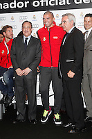 Real Madrid player Pepe (c) and the President Florentino Perez participate and receive new Audi during the presentation of Real Madrid's new cars made by Audi at the Jarama racetrack on November 8, 2012 in Madrid, Spain.(ALTERPHOTOS/Harry S. Stamper) .<br />
