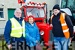 L-R Dermot Crowley, Recovery Haven Kerry and Marian Barnes, Founder of RH Ky, with Noel Sweeney, Mid Kerry Macra at the tractor run at Miltown mart last Sunday afternoon.