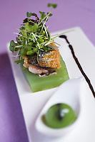 Europe/France/Aquitaine/33/Gironde/Bordeaux: Maquereau, juste rôti sur un compressé  de concombre  recette de Nicolas Magie chef du  restaurant: La Cape à Cenon
