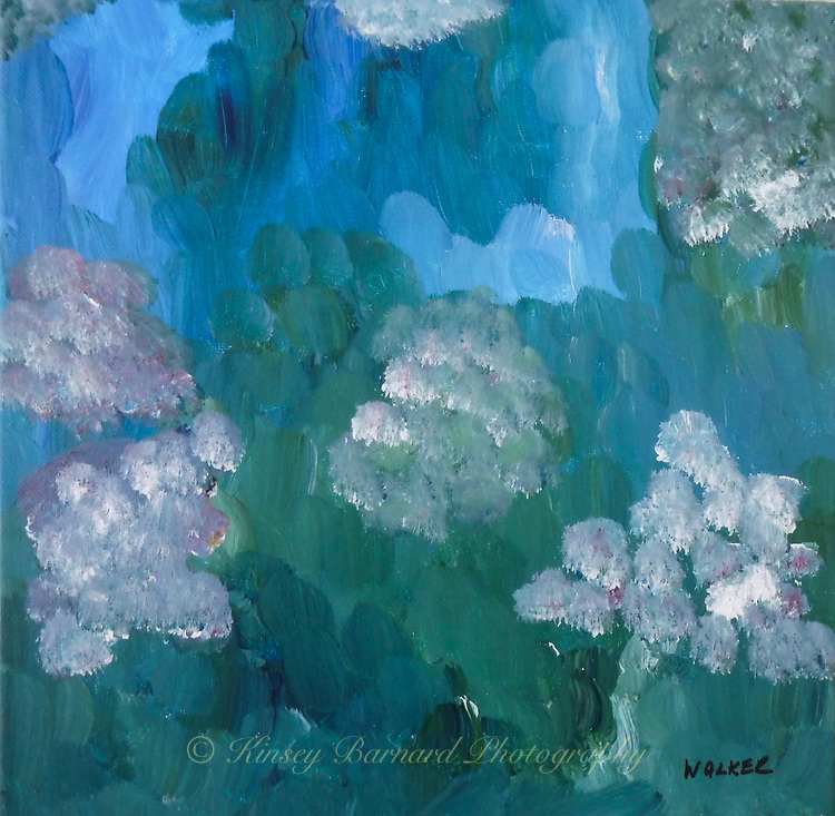 My impressionist view of pink & white hydrangeas. 12x12 gallery wrapped canvas $89.00