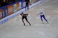 SCHAATSEN: HEERENVEEN: IJsstadion Thialf, 07-02-15, World Cup, 1000m Men Division A, Denis Dressel (GER), Kirill Golubev (RUS), ©foto Martin de Jong