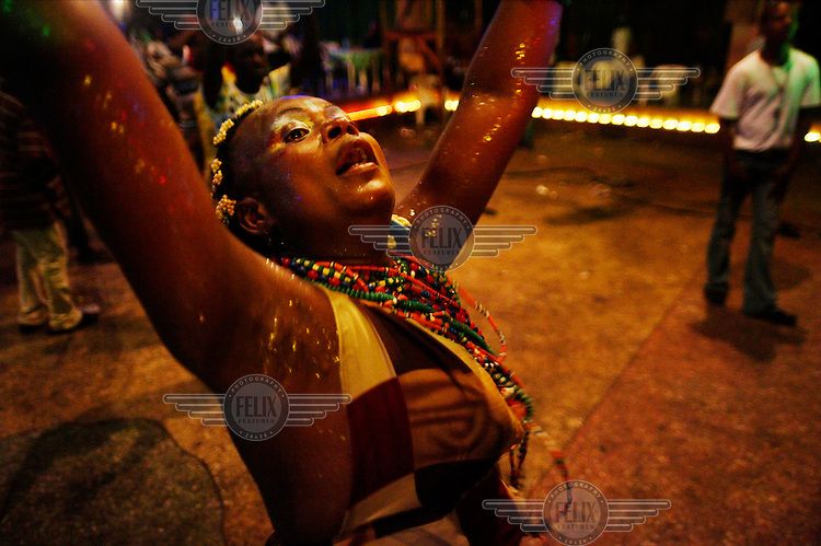 One of Femi Kuti's backup dancers in concert at The New Africa Shrine.