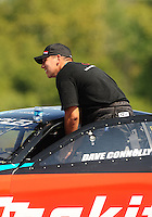 Sept. 18, 2010; Concord, NC, USA; NHRA pro stock driver Dave Connolly during qualifying for the O'Reilly Auto Parts NHRA Nationals at zMax Dragway. Mandatory Credit: Mark J. Rebilas /
