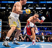 "NEW YORK, NY - MARCH 04: Undefeated WBA Welterweight Champion Keith ""One Time"" Thurman during the bout with Undefeated WBC Welterweight Champion Danny ""Swift"" Garcia, for the unified belt, at Barclays Center on March 4, 2017 in the borough of Brooklyn, New York City.. (Photo by Douglas DeFelice/Eclipse Sportswire/Getty Images)"