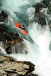 A kayker negotiates a waterfall on the Chelan River during a controlled release from the Chelan Dam every September to allow members of the American Whitewater Association to kayak Washington's shortest river.
