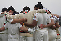 Team hug for Hornchurch during Shenfield CC (batting) vs Hornchurch CC (Bowling) ,Shepherd Neame Essex League Cricket at Chelmsford Road on 12th May 2018