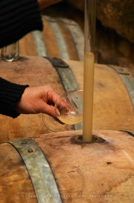Philippe Viret taking a barrel sample of fermenting white wine.  Domaine Viret, Saint Maurice sur Eygues, Drôme Drome France, Europe