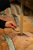 Philippe Viret taking a barrel sample of fermenting white wine.  Domaine Viret, Saint Maurice sur Eygues, Drôme Drome France, Europe