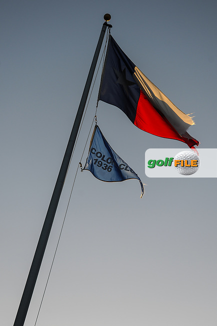 The Texas flag and The Colonial Club flag fly over the 10th fairway at sunset following the round 2 of the Dean &amp; Deluca Invitational,  Colonial Country Club, Ft. Worth, Texas, USA. 5/27/2016.<br /> Picture: Golffile | Ken Murray<br /> <br /> <br /> All photo usage must carry mandatory copyright credit (&copy; Golffile | Ken Murray)