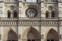 Western façade, Notre Dame de Paris, 1163 ? 1334, initiated by the bishop Maurice de Sully, Ile de la Cité, Paris, France. Picture by Manuel Cohen