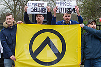 Supporters of the racist Generation Identity group gather in Hyde Park to protest against the detaining of far right activists Martin Sellner and brittany Pettibone at the UK border whom were supposed to be addressing the rally. They traded nsults with anti fasicists seperated from them by Police. London 11-3-18