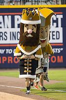 """King Mecklenberg"" takes the lead from ""Jerry the Jester"" in the ""Royalty Race"" between innings of the International League game between the Louisville Bats and the Charlotte Knights at BB&T Ballpark on June 26, 2014 in Charlotte, North Carolina.  The Bats defeated the Knights 6-4.  (Brian Westerholt/Four Seam Images)"