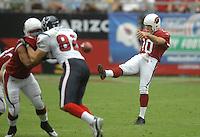 Aug 18, 2007; Glendale, AZ, USA; Arizona Cardinals punter Scott Player (10) against the Houston Texans at University of Phoenix Stadium. Mandatory Credit: Mark J. Rebilas-US PRESSWIRE Copyright © 2007 Mark J. Rebilas