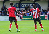 Lincoln City's Jordan Adebayo-Smith, left, celebrates scoring his side's second goal with team-mate Lincoln City's trialist<br /> <br /> Photographer Chris Vaughan/CameraSport<br /> <br /> Football Pre-Season Friendly (Community Festival of Lincolnshire) - Lincoln City v Lincoln United - Saturday 6th July 2019 - The Martin & Co Arena - Gainsborough<br /> <br /> World Copyright © 2018 CameraSport. All rights reserved. 43 Linden Ave. Countesthorpe. Leicester. England. LE8 5PG - Tel: +44 (0) 116 277 4147 - admin@camerasport.com - www.camerasport.com