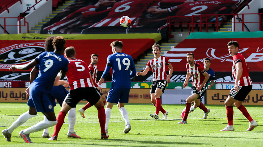 Chelsea's Tammy Abraham tries to meet the cross from Christian Pulisic<br /> <br /> Photographer Alex Dodd/CameraSport<br /> <br /> The Premier League - Sheffield United v Chelsea - Saturday 11th July 2020 - Bramall Lane - Sheffield<br /> <br /> World Copyright © 2020 CameraSport. All rights reserved. 43 Linden Ave. Countesthorpe. Leicester. England. LE8 5PG - Tel: +44 (0) 116 277 4147 - admin@camerasport.com - www.camerasport.com