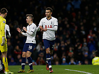 7th March 2020; Turf Moor, Burnley, Lanchashire, England; English Premier League Football, Burnley versus Tottenham Hotspur;  Dele Alli of Tottenham Hotspur celebrates after scoring his team's first goal from the penalty spot to make the score 1-1 after 50 minutes