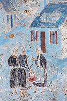 France, Bretagne, (29), Finistère,   Penmarch, Saint-Pierre (Penmarc'h): Mur peint représentant des scène de la vie bigoudène , promenade Baptiste Dupuy // France, Britatny, Finistere,   Penmarch, Saint-Pierre: Wall painted scene depicting the Bigouden life