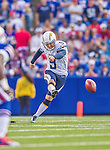 21 September 2014: San Diego Chargers kicker Nick Novak kicks off in the second quarter against the Buffalo Bills at Ralph Wilson Stadium in Orchard Park, NY. The Chargers defeated the Bills 22-10 in AFC play. Mandatory Credit: Ed Wolfstein Photo *** RAW (NEF) Image File Available ***