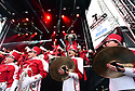 Crimson Tide fans enjoy an Alabama pep rally at the Allstate Fan Fest featuring the marching band and cheerleaders in New Orleans, La., on Dec. 31, 2017.  Alabama plays the Clemson Tigers in the Allstate Sugar Bowl at the Mercedes-Benz Superdome on Jan. 1, 2018.(Cheryl Gerber/AP Images for Allstate)