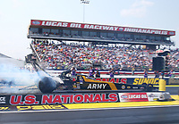 Sep 4, 2017; Clermont, IN, USA; NHRA top fuel driver Tony Schumacher during the US Nationals at Lucas Oil Raceway. Mandatory Credit: Mark J. Rebilas-USA TODAY Sports