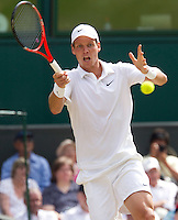 Tomas Berdych (CZE) (12) against Novak Djokovic (SRB) (3) in the Semi-Finals of the gentlemen's singles. Tomas Berdych beat Novak Djokovic 6-3 7-6 6-3..Tennis - Wimbledon Lawn Tennis Championships - Day 11 Fri 2nd July 2010 -  All England Lawn Tennis and Croquet Club - Wimbledon - London - England..© FREY - AMN IMAGES  Level 1, Barry House, 20-22 Worple Road, London, SW19 4DH.TEL - +44 (0) 20 8947 0100.Email - mfrey@advantagemedianet.com.www.advantagemedianet.com