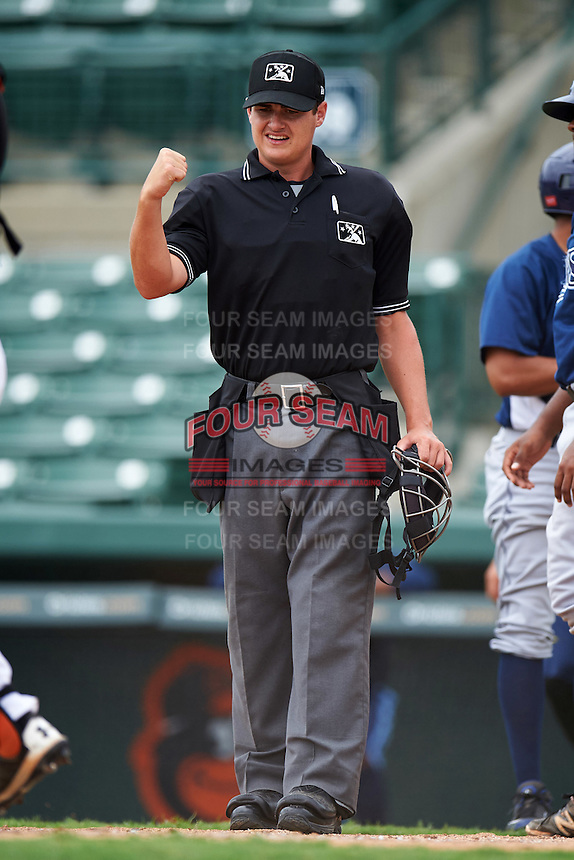 Umpire Ryan Baier during the second game of a doubleheader between the GCL Rays and GCL Orioles on August 1, 2015 at the Ed Smith Stadium in Sarasota, Florida.  GCL Orioles defeated the GCL Rays 11-4.  (Mike Janes/Four Seam Images)