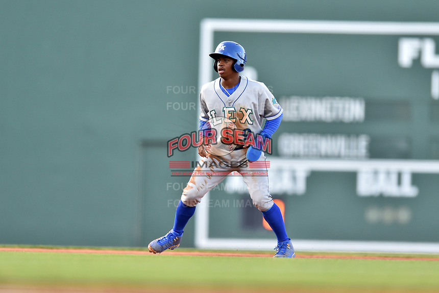 Lexington Legends right fielder Khalil Lee (9) leads off second during a game against the Greenville Drive at Fluor Field at West End on April 10, 2017 in Greenville, South Carolina. The Legends defeated the Drive 12-4 (Tony Farlow/Four Seam Images)
