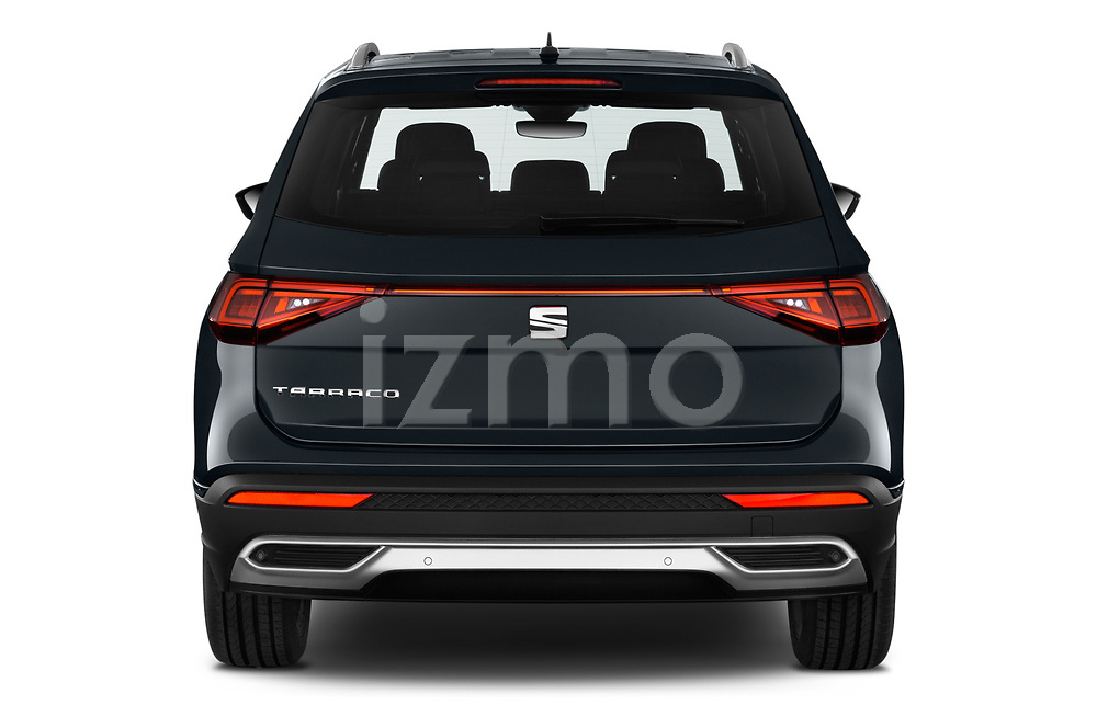 Straight rear view of 2019 Seat Tarraco Xcellence 5 Door SUV Rear View  stock images