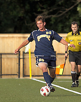 Quinnipiac University defender Greg DiGiovine (20). Boston College defeated Quinnipiac, 5-0, at Newton Soccer Field, September 1, 2011.