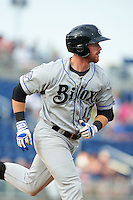 Biloxi Shuckers outfielder Michael Reed (17) runs to first during the second game of a double header against the Pensacola Blue Wahoos on April 26, 2015 at Pensacola Bayfront Stadium in Pensacola, Florida.  Pensacola defeated Biloxi 2-1.  (Mike Janes/Four Seam Images)