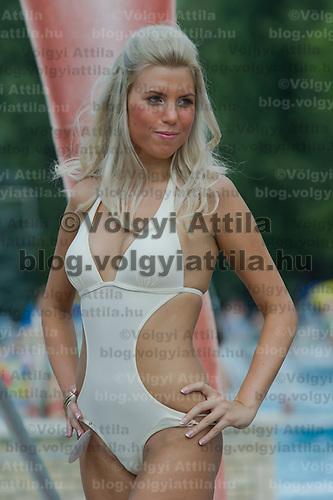 Zsofia Csepregi attends the Miss Bikini Hungary beauty contest held in Budapest, Hungary on August 06, 2011. ATTILA VOLGYI